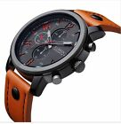 Curren Men's Leather Strap Stainless Steel Strap Sport Analog Quartz Wrist Watch
