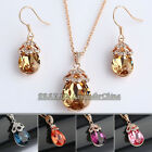 A1-S099 Rhinestone Simulated Gemstone Earring Necklace Jewelry Set 18KGP Crystal