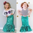 3-8 T Girls Children Party Fancy Dress Mermaid Tail Bottom Vest + T-shirt Outfit