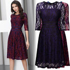 Women's Vintage 1940s Lace Evening Cocktail Business Party Casual Pleated Dress