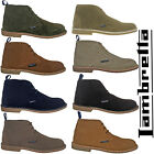 Lambretta Leather Desert Ankle Boots Mens Carnaby 3 Eye Lace Suede Round Toe