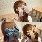 Women Fashion Korean Satin Ribbon Bowknot Hair Clips Barrette Ponytail Holder