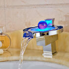 LED Light Waterfall Spout Bathroom Basin Faucet Chrome Brass Sink Mixer Taps