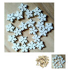 50pcs/Pack 18mm White wooden Snowflakes Christmas Gifts Hand Goods Holes