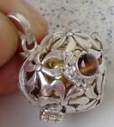 Tigereye Solid Silver, 925 Balinese & Brass Mystic Chime Pendant 24653