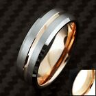 8mm Tungsten Men's Ring Brushed Silver Rose Gold Stripe Band - Engravable