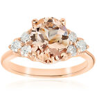 2 1/3 cttw Oval Morganite & Diamond Engagement Ring 14k Rose Gold Jewelry