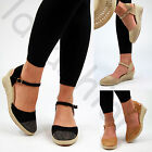 New Womens Mid Wedge Heel Espadrilles Ankle Strap Comfy Diamante Summer Sandals