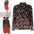 NEW DOROTHY PERKINS BLACK FLORAL PIPE BORDER SHIRT BLOUSE TOP 8 to 18