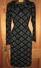 Capri black with brown/grey print cowl neck jersey dress slouch pockets size 16