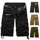 New Mens Cargo Shorts Multi-Pocket Solid Camo Combat Slim Fit Cotton Short Pants