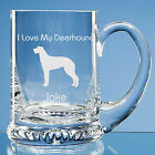 Scottish Deerhound Dog Lover Gift Personalised Engraved Handmade Glass Tankard