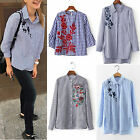 Summer Casual Cotton Tops Women Long Sleeve Striped Loose Shirt Blouse Tops SML