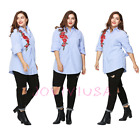 Long Sleeve Embroidery Floral Stripes Plus Size Loose Blouse Ladies T-Shirt Tops