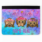 Personalised New Girl Emoji Faux Leather Apple iPad Tablet Cover Case Gift ST900