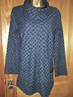 Capri long sleeved navy textured cotton tunic roll neck pockets size 14