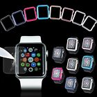 For Apple Watch iWatch 38/42mm Hard Bumper Thin Case Cover + Tempered Glass Film