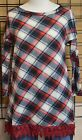 CRAZY TRAIN Ladies Check Yes or No Red Plaid Tunic