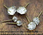 RAW HERKIMER DIAMOND Studs, Pick Stone Size From Small, Medium or Large - Brass