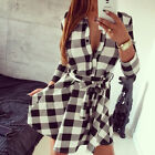 Fashion Womens Vintage Plaids Button V-Neck Cocktail Party Bodycon Shirt Dress