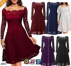 Women Floral Lace Long Sleeve Cocktail Prom Gown Party Evening Skater Dress A023