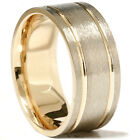 14K Gold Two Tone Mens Comfort Fit 8mm Wedding Band