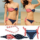 Women Swimwear Bandage Bikini Set Push-up Padded Bra Bathing Suit Swimsuit Flag