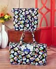 OWL Print Quilted Luggage Bag Tote Duffel Travel Weekender Overnight Large
