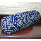 AL265g Blue on Cream Geometric Cotton Canvas Bolster Cover Nect Roll Yoga Case