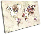 World Atlas Floral Vintage Maps Flags SINGLE CANVAS WALL ART Picture Print