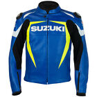 Suzuki Blue Motorcycle Leather Jacket Sports Motorbike Leather Jackets All Size