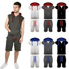 Mens Sleeveless Activewear Tracksuit Hooded Short Bottoms Gym Jogging Suit S-XXL