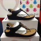 Heavenly Feet Mellow Ladies Sandals Wedge Fly'ing Out New Black Navy Size 3-8