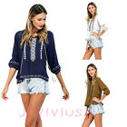 Women 3/4 Sleeve Crewneck Embroider Floral Fringe Summer Blouse Casual Top Shirt