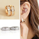 Fashion Women Men Crystal Stainless Steel Ear Hoop Stud Huggies Earrings Jewelry