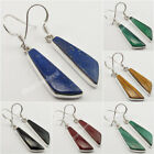 Guaranteed 925 Sterling Silver, Real Flat Gemstones Earrings ! Birthday Present