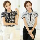 Fashion Women Chiffon T-shirts Short Sleeve Floral Printed Blouse Tops S-3XL M33
