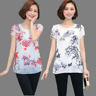 Plus Size Fashion Women Short Sleeve Shirts Crew-neck Chiffon Tops Floral Blouse