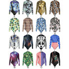 NEW Women Long Sleeve Surfing One Piece Bikini Monikini Swimsuit Bathing Suit
