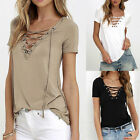US Fashion Casual Womens Pullover T Shirt Short Sleeve Cotton Tops Shirt Blouse