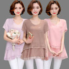 Plus Size Women Short Sleeve Chiffon Shirts Casual Loose Tops Hot Solid Blouses
