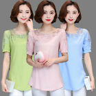 Plus Size Women Short Sleeve Shirts Cotton Linen Solid Tops Fashion Loose Blouse