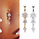 Stylish Crystal Rhinestone Flower Navel Belly Button Ring Piercing Body Bar Hot