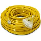 10 Gauge Heavy Duty 50'-100' 3 Outlet Lighted SJTW Extension Cord Lifetime Wrnty