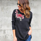 New Design Fashion Women's Cotton Floral Long Sleeve T-shirts Casual Flower Tops