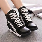 Women's Sneakers Sports Rivet Hidden Wedge Heel Pretty Gift High Top Shoes