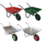 65L Metal Wheelbarrow Builders Dump Trolley With 12'' Pneumatic Inflatable Tyre