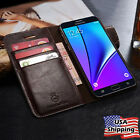 Samsung Galaxy S7 / S8 Plus SLIM Genuine Leather Wallet Card Case Flip Cover