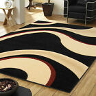 QUALITY RUG MODERN WAVE CARVED 12MM THICK BLACK RED SOFT MILANO DISCOUNT RUGS