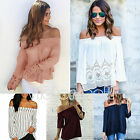 Boho Womens Off Shoulder Shirts Beach Long Sleeve Casual Loose Lace Top Blouse